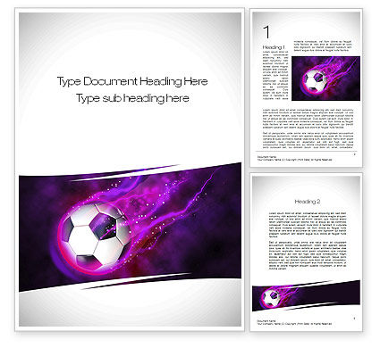 Soccer Ball on Purple Word Template, 10783, Sports — PoweredTemplate.com
