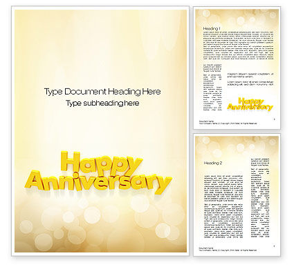 Happy Anniversary in Yellow Word Template, 10799, Holiday/Special Occasion — PoweredTemplate.com