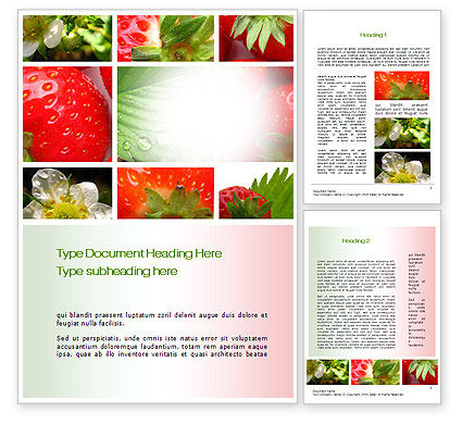 Strawberries Collage Word Template, 10812, Agriculture and Animals — PoweredTemplate.com