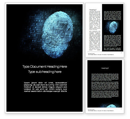 Technology, Science & Computers: Fingerprint on Digital Screen Word Template #10814