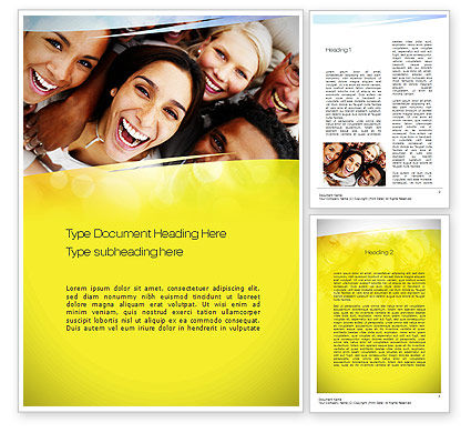 Group of Happy People Word Template, 10833, People — PoweredTemplate.com