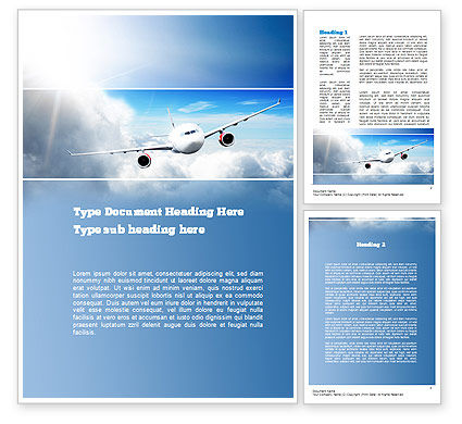 Cars/Transportation: Sky Plane Word Template #10836