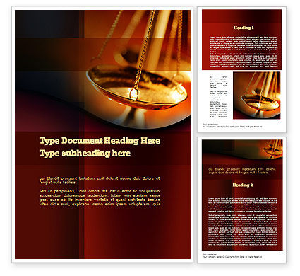 Scales of Justice Word Template, 10837, Legal — PoweredTemplate.com