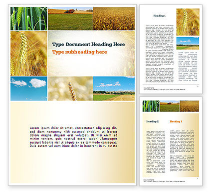 Wheat Cultivation Word Template, 10884, Agriculture and Animals — PoweredTemplate.com