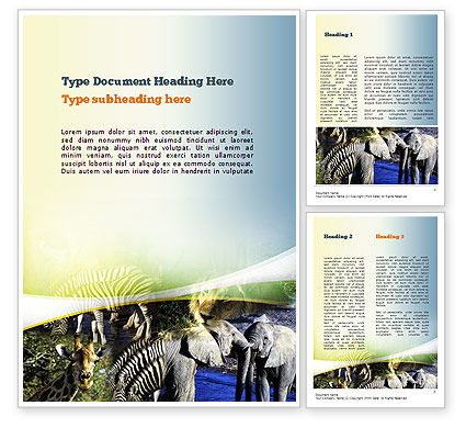 African Fauna Word Template, 10894, Nature & Environment — PoweredTemplate.com
