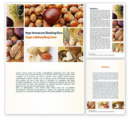 Nuts Collage Word Template, 10898, Food & Beverage — PoweredTemplate.com