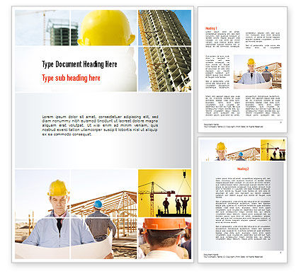 Construction: Construction Collage Word Template #10923