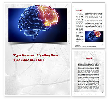 Medical: Human Brain Frontal Lobe Word Template #10925