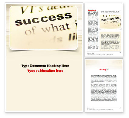 Definition of Success Word Template, 10930, Education & Training — PoweredTemplate.com
