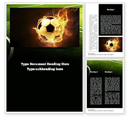 Football in Fire Flame Word Template, 10931, Sports — PoweredTemplate.com