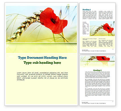 Poppy in Wheat Word Template, 10953, Agriculture and Animals — PoweredTemplate.com