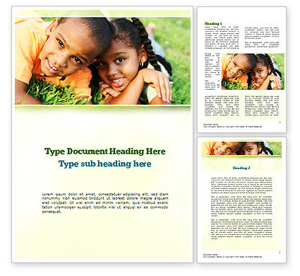 Happy Kids Word Template, 10960, People — PoweredTemplate.com