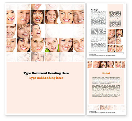 Smiling People Word Template, 10963, People — PoweredTemplate.com