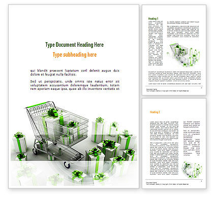 Careers/Industry: Green Gift Boxes Word Template #10965