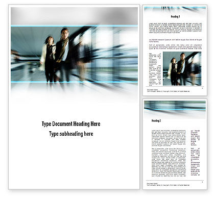 People Walking Word Template, 10980, People — PoweredTemplate.com