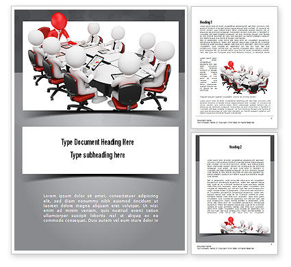 3D Man Business Meeting Word Template, 10984, Business — PoweredTemplate.com