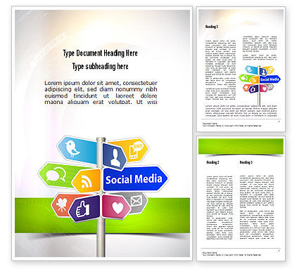 Social Media Signs Word Template, 10992, Careers/Industry — PoweredTemplate.com