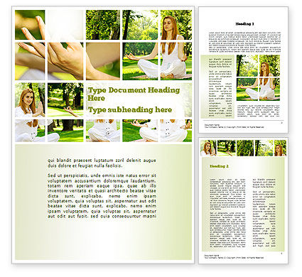 Yoga Outdoors Word Template, 10995, People — PoweredTemplate.com