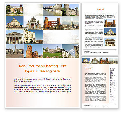 Turin Landmarks Collage Word Template