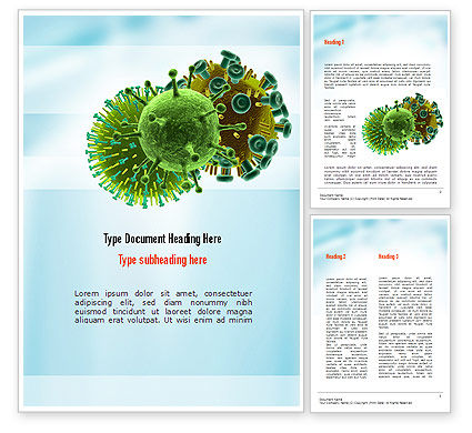 HIV Virus Word Template, 11023, Medical — PoweredTemplate.com