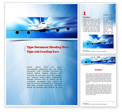 Jet Aircraft Word Template, 11030, Cars/Transportation — PoweredTemplate.com