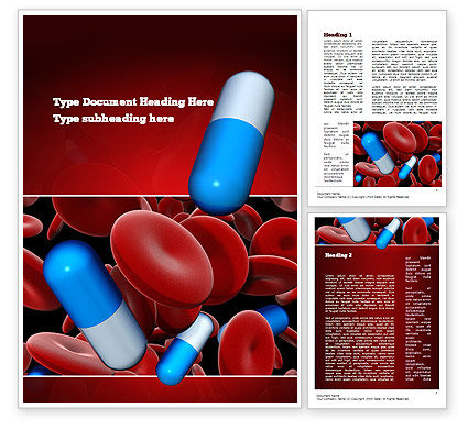 Medicine in Blood Word Template, 11031, Medical — PoweredTemplate.com