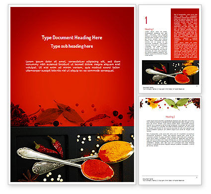 Bright Spices Word Template, 11040, Food & Beverage — PoweredTemplate.com