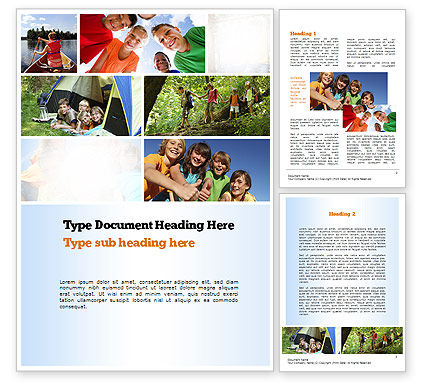 Summer Camp Fun Word Template, 11048, Education & Training — PoweredTemplate.com