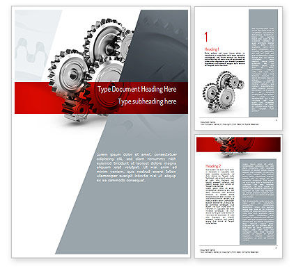Perpetuum Mobile Gears Word Template, 11055, Construction — PoweredTemplate.com