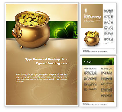 Pot of Gold Coins Word Template, 11059, Holiday/Special Occasion — PoweredTemplate.com
