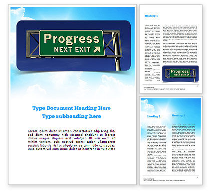 Progress Freeway Sign Word Template, 11066, Consulting — PoweredTemplate.com