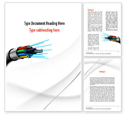 Fiber Optic Cable Word Template, 11077, Technology, Science & Computers — PoweredTemplate.com