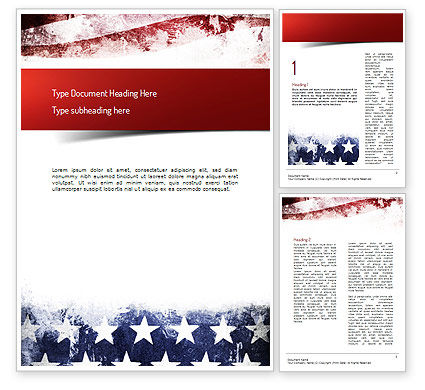 America: Painted American Flag Word Template #11089