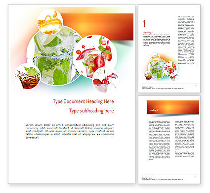 Refreshing Drinks Word Template, 11094, Food & Beverage — PoweredTemplate.com