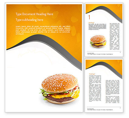 Tasty Burger Word Template, 11097, Food & Beverage — PoweredTemplate.com