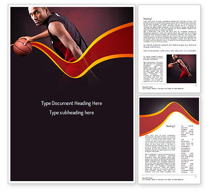 Basketball Theme Word Template, 11105, Sports — PoweredTemplate.com