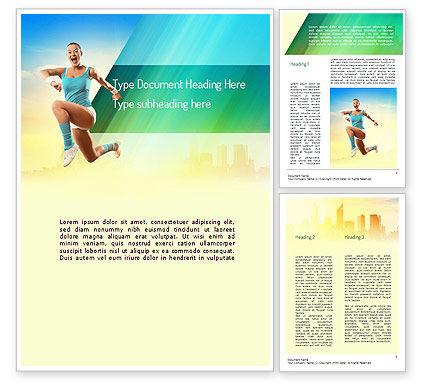 Sports: Girl Running Word Template #11109