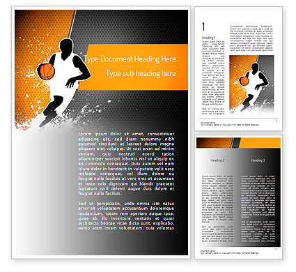 Sports: Basketball Man Word Template #11140