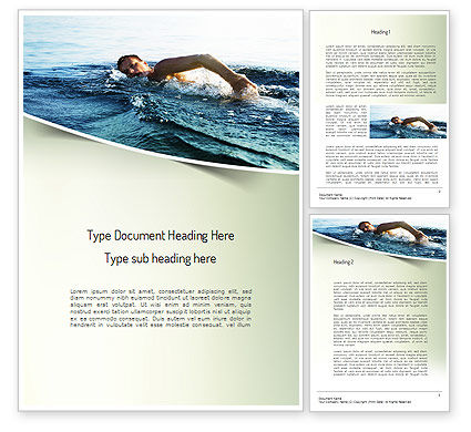 Sports: Ocean Swimmer Word Template #11150