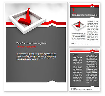 Red Check Mark Word Template, 11153, Education & Training — PoweredTemplate.com
