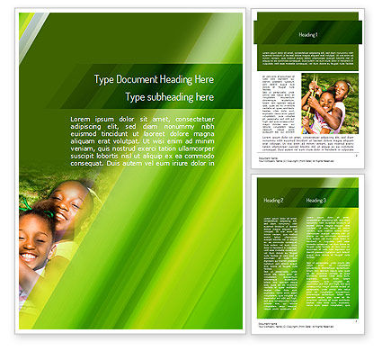 Happy Sisters Word Template, 11159, People — PoweredTemplate.com