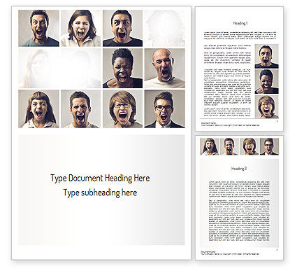 Screaming People Word Template, 11161, People — PoweredTemplate.com