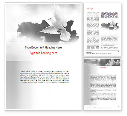 Flying Pigeon Word Template, 11164, Religious/Spiritual — PoweredTemplate.com