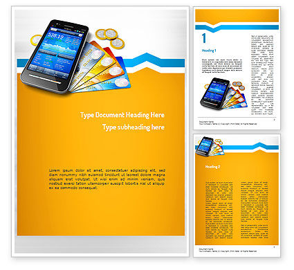 Technology, Science & Computers: Mobile Banking Word Template #11165