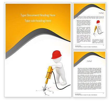 Jackhammer Worker Word Template, 11183, Construction — PoweredTemplate.com