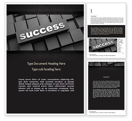 Business Concepts: Success Tittle on a Block Word Template #11194
