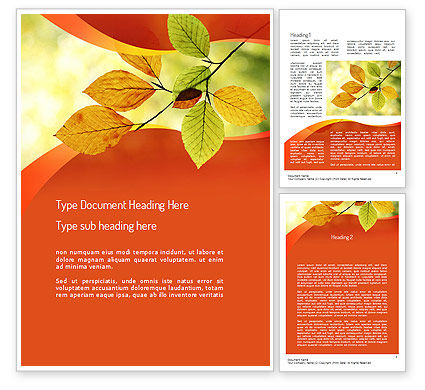 Nature & Environment: Branch with Yellow Leaves Word Template #11208
