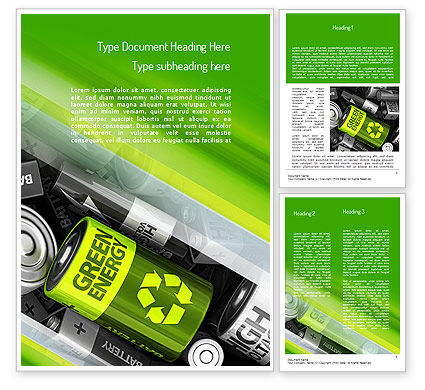 Green Energy Battery Word Template, 11224, Technology, Science & Computers — PoweredTemplate.com