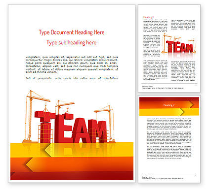 Team Building Under Construction Word Template, 11226, Careers/Industry — PoweredTemplate.com