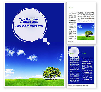 Tree on Horizon Word Template, 11239, Nature & Environment — PoweredTemplate.com